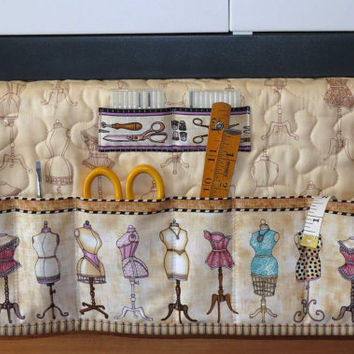 Quilted Sewing Machine Pad, Organizer, Caddy, Vintage Dress Forms