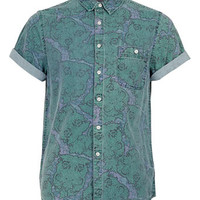 Green Baroque Print Short Sleeve Blue Denim Shirt - Men's Shirts  - Clothing
