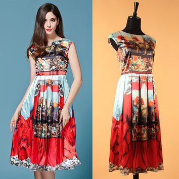 S - XXXL Sicilian Style Restoring Ancient Ways Samurai Printed Women Dress The New Spring/summer 2015 Runway Looks Fashion