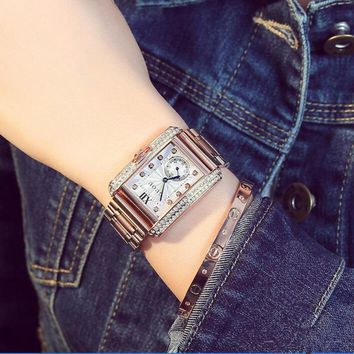 GUOU Luxury Diamond Wrist Watch Women Watches Fashion Shiny Women's Watches Rectangle Ladies Watch Clock saat relogio feminino