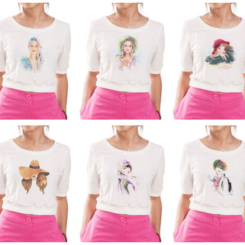 Girl's Potrait painting Graphic Printed Elbow Sleeves Croptop WTS_05