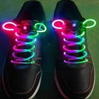 Muti-color Cool LED Flash Lighting Glow Skating Shoelaces Shoe Laces DISCO