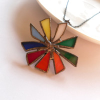 Rainbow statement necklace stained glass pendant colorful jewelry artistic christmas gift Big bang