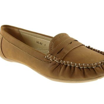 Women's Rocus Moccasin Slip On Penny Loafers Shoes LL-02 Brown