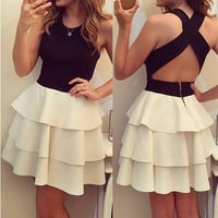 Color Block Sleeveless Crossback Layered Skater Dress