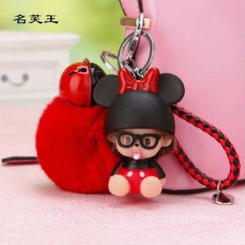 ONETOW 2017 new cartoon Monchichi kiki Dog Dolls real Fur Pom Pom pompom ball Keychain Key Chain ring Lady Bag car Pendant Porte Clef