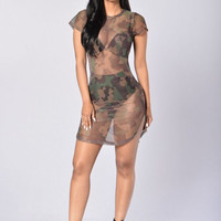 Sexy Women Summer Soft Mesh Bodycon See Through Dress Camouflage Sexy Short Mini Dress