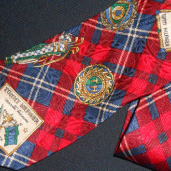Vintage Tommy Hilfiger Tie Plaids Red Open Golf Championship Throphy TH Bag 100& Silk Mens Necktie Designer Name Brand Made In USA Neckwear