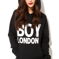 Black Boy London Print Hooded Sweater
