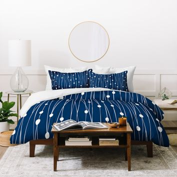 Heather Dutton Navy Entangled Duvet Cover