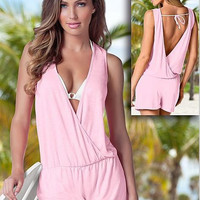 V-neck Backless Sleeveless Bandage Sexy Beach Short Jumpsuits