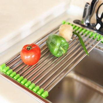 2 Sizes Vegetable Drainer Shelf Stainless Steel Sink Dryer Rack Folding Holder Roll Up Kitchen Over Dish Fruit