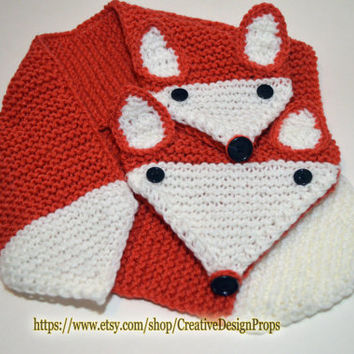 Knitted What Does The Fox Say Orange Animal Scarf - Pull Through Keyhole, Novelty Short Scarf, Woodland, Christmas Gift, kids, animal lovers