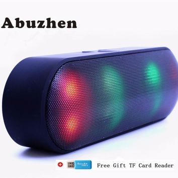 Abuzhen Bluetooth Speaker LED Portable Wireless Speaker Mini Sound System 3D Stereo Music MP3