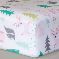 Fitted Crib Sheet Forest Frolic - Cloud Island™ - Pink