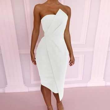 FeiTong Sexy backless strapless wrap party dresses Smocking off shoulder midi dress Slash neck bodycon short dress women summer