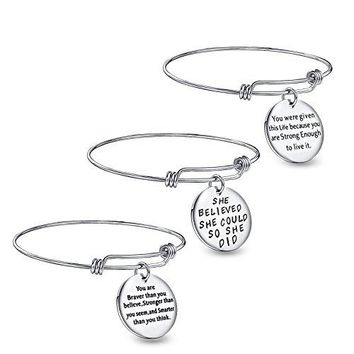 UKER Inspirational Charm Bracelet Expandable Stainless Steel Engraved Message Motivational Bangle iexclshy