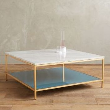 Lindley Marbled Coffee Table by Anthropologie in White/blue Size: Coffee Table Furniture