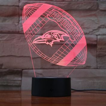 Baltimore Ravens Rugby 3D Lava Lamp Creative 7 Color Changing LED Night Light