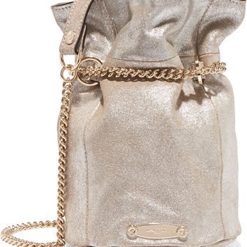 Lanvin - Aumoniere metallic textured-leather bucket bag