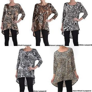 Sexy Leopard Print Scoop Neck 3/4 Sleeve Asymmetrical Hi-Low Hem Long Tunic Top