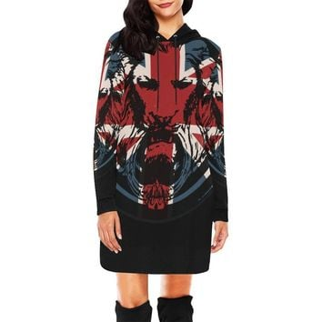 Womens Union Jack Lion Black The Original Hoodie Dress