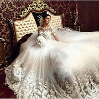 Luxury A Line Wedding Dresses Vintage Cathedral Train Lace Tulle Appliques Long Sleeve Muslim