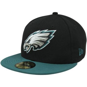 New Era Philadelphia Eagles Two-Tone 59FIFTY Fitted Hat - Black/Midnight Green