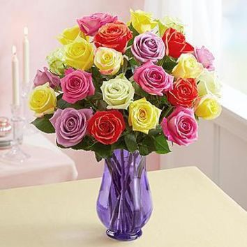 Gift Flowers Two Dozen Assorted  Roses with Purple Vase