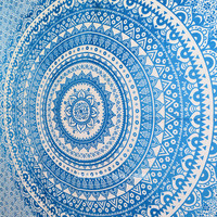 Blue Multi Floral Ombre Circle Mandala Wall Tapestry Bedding on RoyalFurnish.com