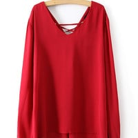 Red Double V-neck Chiffon Slit Long Sleeve Blouse