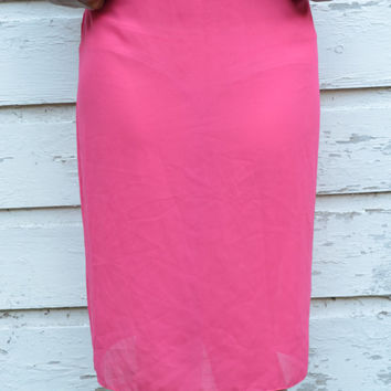 Hot Pink True Vintage Light Sheer Slip Pencil Skirt, Neon Lolita Kawaii Fashion