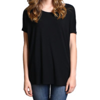 Black Piko Short Sleeve Top