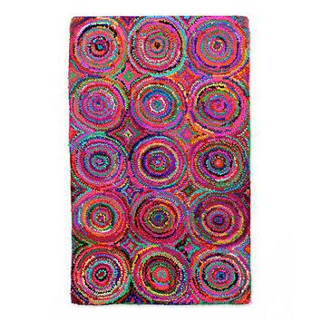 Recycled fabric Chindi rug, 'Hues of Life'