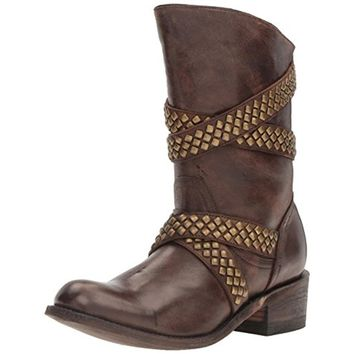 Five Worlds by Cordani Womens Sanchez Leather Studded Cowboy, Western Boots