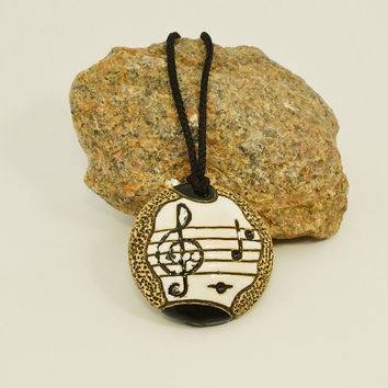 Jewelry Necklace Pendant ceramic ocarina Treble Clef and Notes diameter of 2 inches 4 holes to play