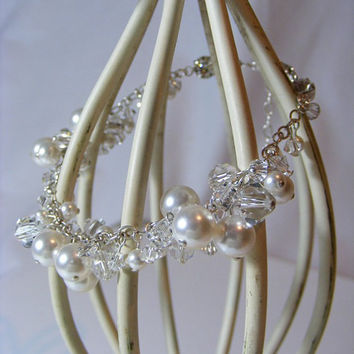 JESSICA Sterling Silver, Swarovski Crystal & Pearl Bracelet by Passionflower Jewellery Designs