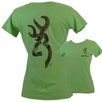 Browning Women's Camo Buckmark Key Lime Classic Short Sleeve T-Shirt