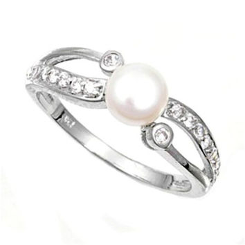 Sterling Silver CZ Pearl Wedding Band Ring size 4-10