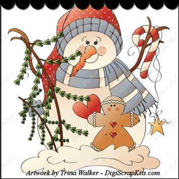 Winter Friends 2 Clip Art Single :Digi Scrap Kits Trina Walker (Clark), winter, snowman, snowmen, gingerbread