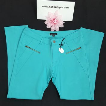 Hermoso Turquoise skinny ankle leggings