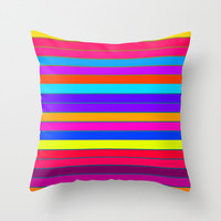 Horizontal Happy Stripes Throw Pillow by 2sweet4words Designs | Society6