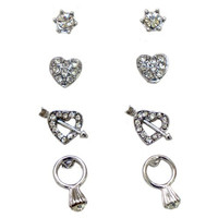 4 Pair Of Earrings Including Heart Set, Heart And Arrow, Stud And Engagement Ring Stud