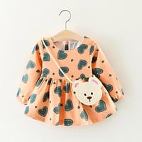 2017 Newborn baby Dresses Heart Print Dresses For Girls With Bag 2Pcs Kid Clothes Infant Clothing For Children Autumn Girl Dress