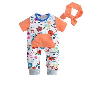 Flowers Printed Baby Girl Jumpsuit with Headband