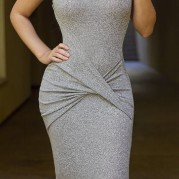 Grey Ruched Detail Tank Dress
