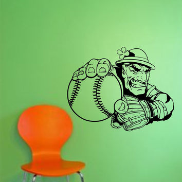 Irish Baseball Player Mascot Wall Vinyl Decal Sticker Art Graphic Sticker Kid