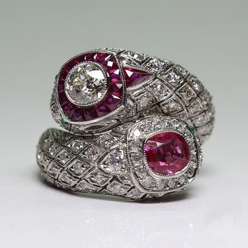 Antique Style Art Deco 925 Sterling Silver Imitation Ruby & Whiite Sapphire Ring Size 6 7 8 9 10