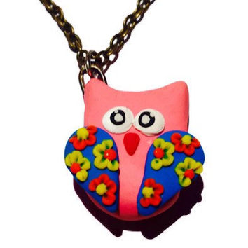 Pink Owl Necklace, Cute Owl Necklace, Girly Necklace Gift, Fun Owl Pendant, Cute Teen Gift Idea, Floral Clay Owl Necklace, Cute Pink Owl