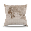 """Catherine Holcombe """"Emerald World"""" Vintage Map Throw Pillow"""